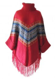 PFL cape with ethnic design, turtleneck, sleeves and fringes in alpaca blend.