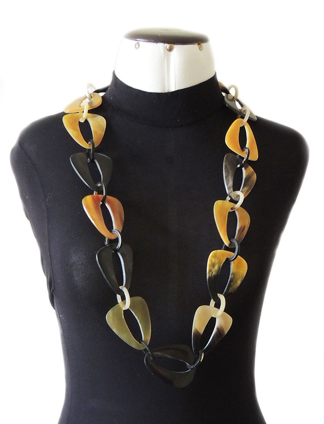PFL buffalo horn necklace with triangular links with rounded corners and small round links, made from polished.
