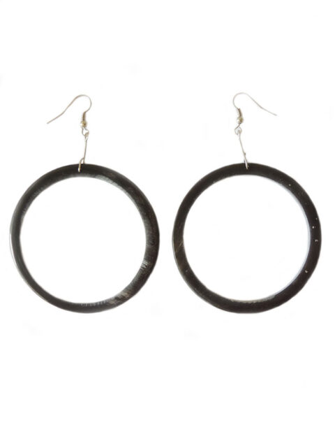 PFL, large round earrings made from polished buffalo horn, lightweight.