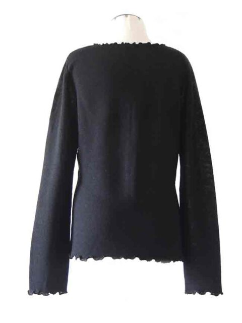 fine knitted black ruffled cardigan along the hem with in baby alpaca
