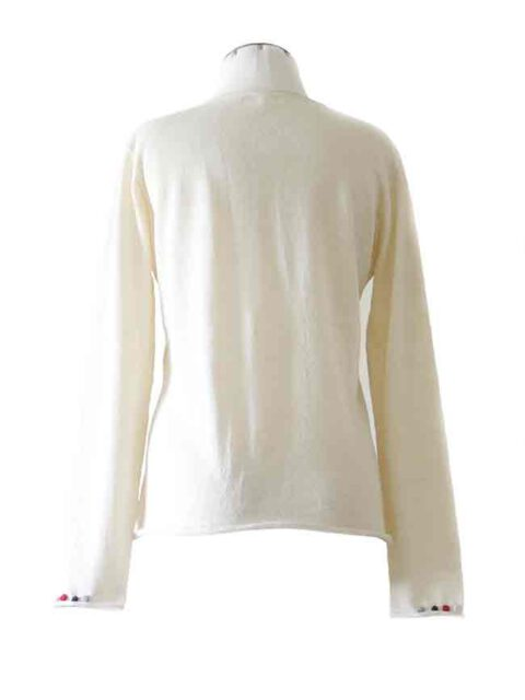 fine knitted white cardigan with embroidered details on the neck and cuffs in baby alpaca