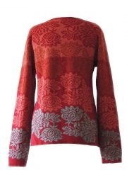 sweater Georgina red grey baby alpaca