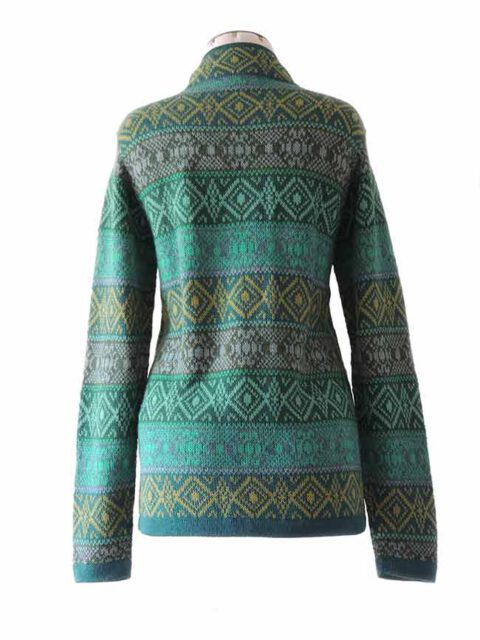 cardigan milly green-multi  with pattern