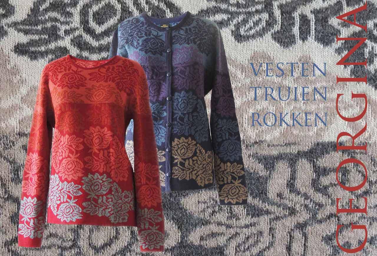 PFL knitwear, jacquard damesvesten en truien model Georgina.