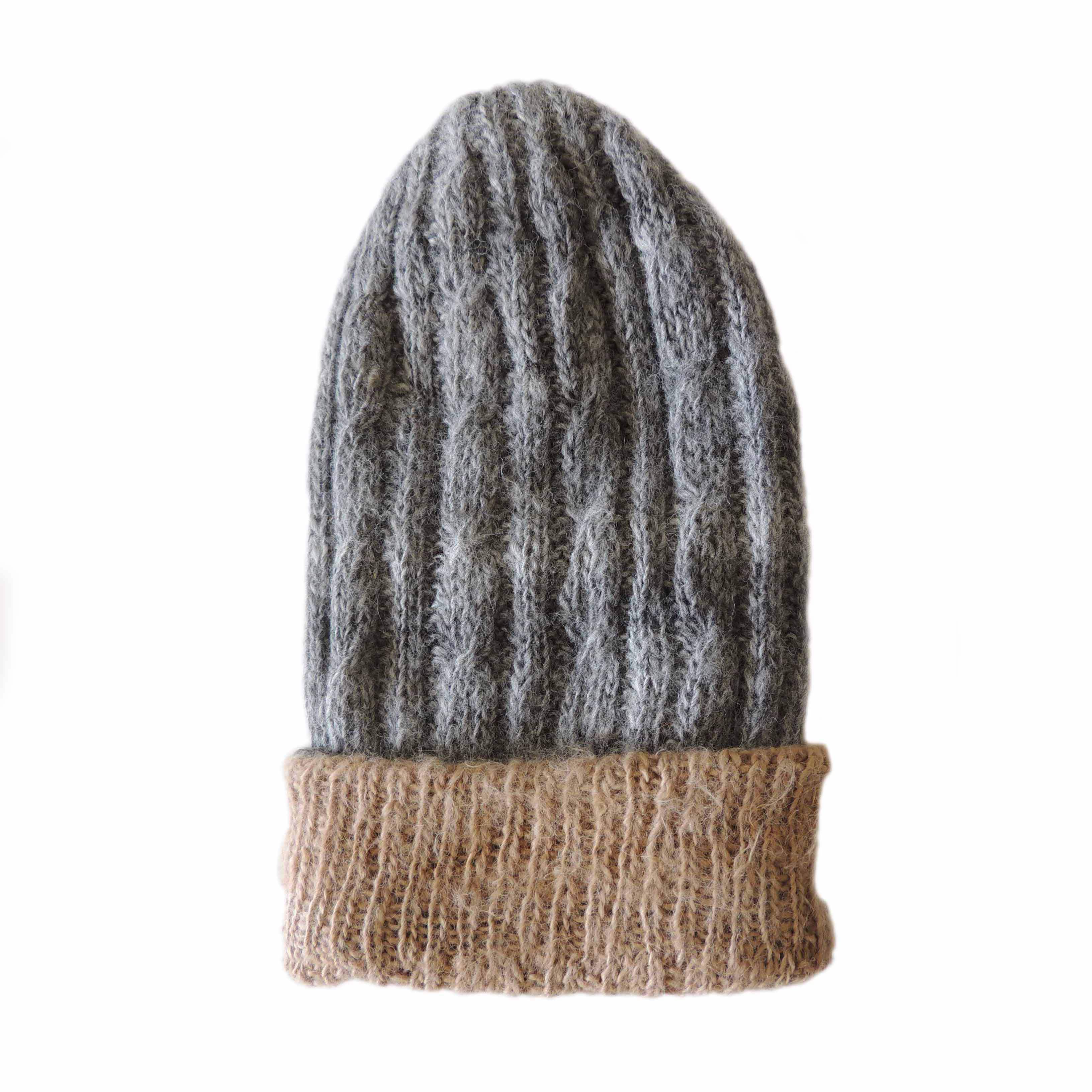 PFL knitwear, hand knitted reversible beanies