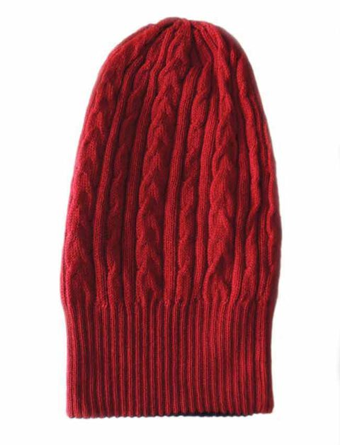 beanie reversible two colors red -beige with cable motif