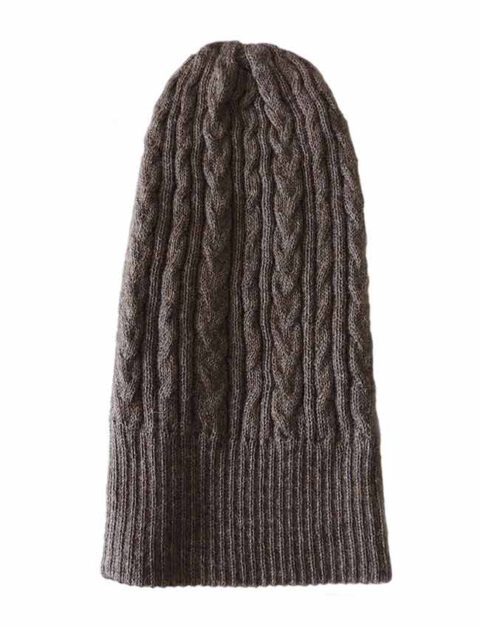 beanie reversible two colors taupe -black with cable motif