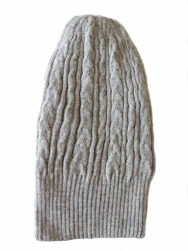 91d5ad811dd beanie reversible two colors grey -black with cable motif