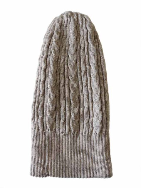beanie reversible two colors beige - taupe with cable motif