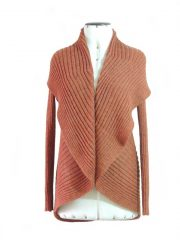 PFL knitwear open cardigan Keyla, color copper in 100% alpaca.