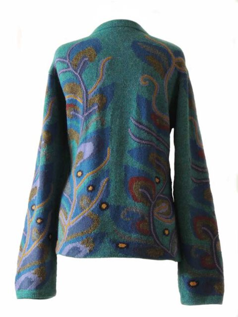 PFL knitwear, cardigan intarsia knitted with branches pattern.