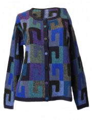 PFL knitwear, cardigan intarsia knitted with graphic pattern crew neck and button closure in alpaca.