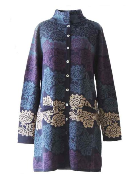 PFL knitwear, cardigan / coat Georgina blue-multi, four color design with flower pattern,