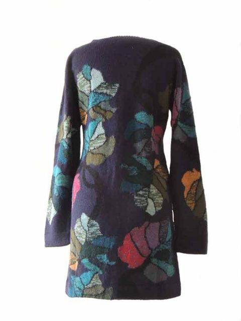 PFL knitwear, cardigan blue with flower pattern