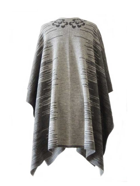 Ruana, cape with floral motif in gray tones Jacquard knitted in alpaca