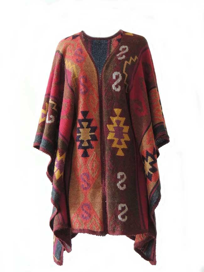 Ruana cape with graphic pattern multi color 100% alpaca.