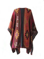 Ruana cape with graphic pattern multi color 100% alpaca.