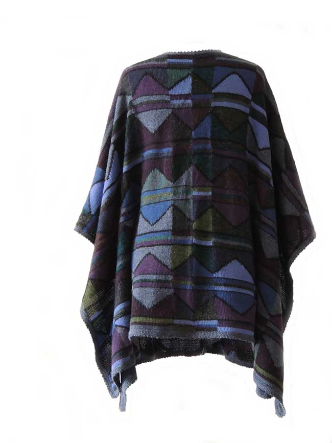 Ruana cape with graphic pattern multi color