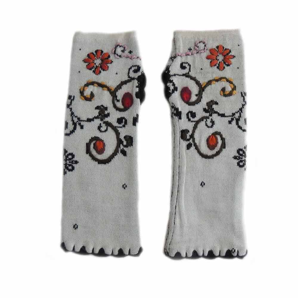 PopsFL Wirst warmers, fingerless gloves with embroidered flower detail, alpaca blend