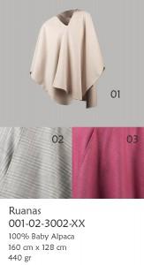 001-02-3002 Ruana poncho, omslagdoeken 100 % Baby Alpaca, met ingeweven patroon in effen kleur (solid color)