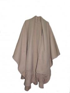 001-02-3006-XX Klassieke poncho uitgevoerd met sjaal in 100% Alpaca