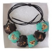 necklace Taqua dark brown-turquoise