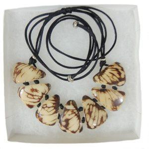 necklace, Taqua white-brown