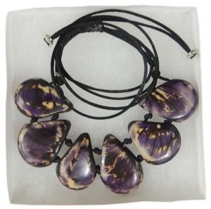 necklace, Taqua purple-white