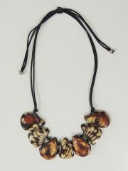 necklace, Taqua brown-white