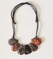 Necklace, Taqua dark brown-turquoise