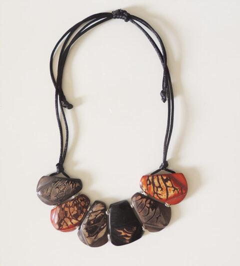Necklace, Taqua dark brown-turquoise