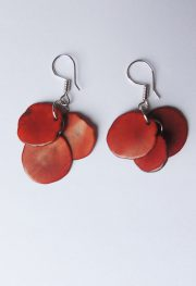 Set necklace and earrings in Taqua orange -brown