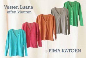 Damesmode vesten Luana, klassiek vest in effen kleuren uitgevoerd in 100% pima katoen