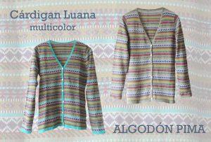 Ropa de mujer, PFL premium cárdigan clásico modelo Luana multicolor hecho en 100% algodón pima