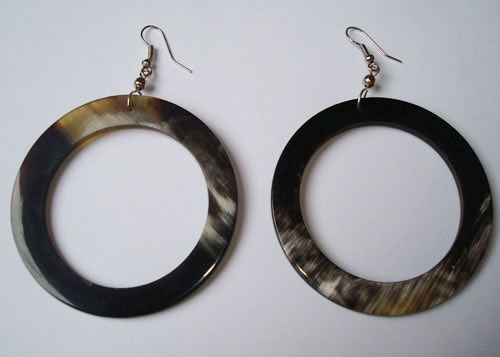 PFL round earrings large made from polished bull horn