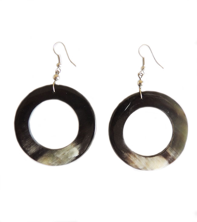 PFL round earrings made from polished bull horn