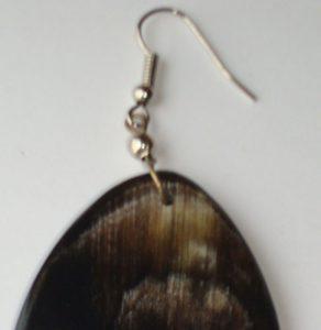 PFL Earrings, oval figure made from bull horn