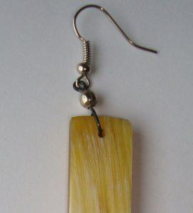 PFL Earrings, rectangular figure made from bull horn