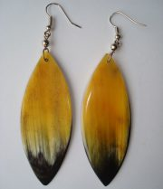 PFL Earrings, leaf shape figure made from bull horn