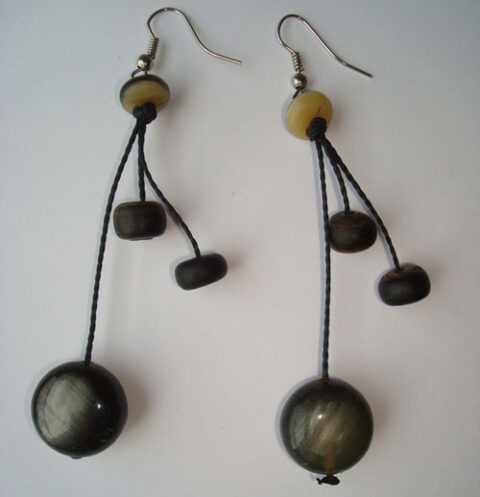 PFL Earrings, a combination of flat and round balls made from bull horn