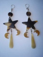 PFL Earrings, handmade polished bulls horn with star and crescents
