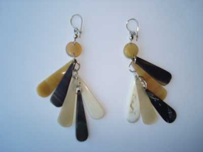 PFL Earrings with 5 tears handmade polished bull horn