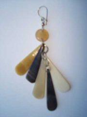 PFL Earrings with 5 tears handmade polished bull horn