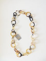 PFL necklace, handmade in a mix of round and oval links of polished bull horn.