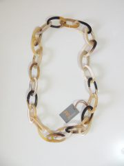 PFL necklace with large oval links made of polished bulls horn