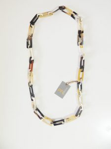 PFL necklace, handmade with rectangular links of polished bull horn.