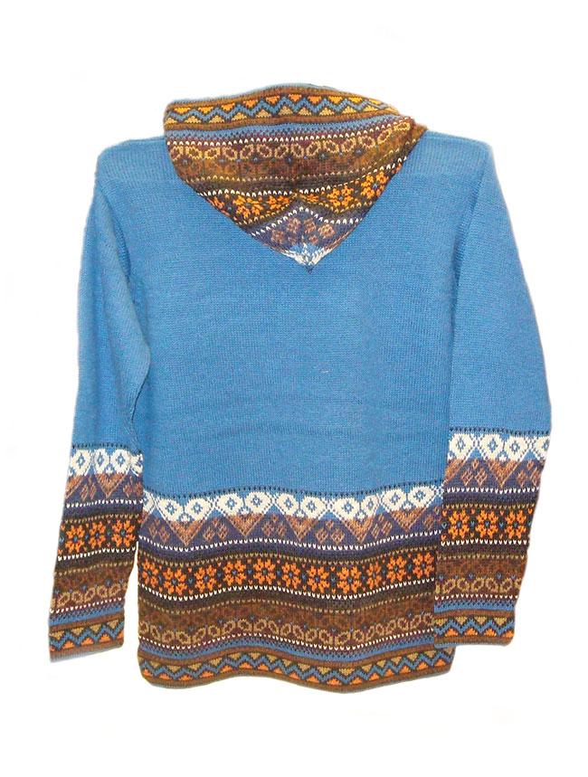 Hooded sweater in alpaca P43 Muru blue.