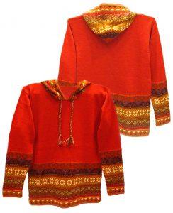 Hooded sweater in alpaca P43 Muru red.
