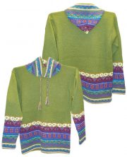 Hooded sweater in alpaca P43 Muru Green.