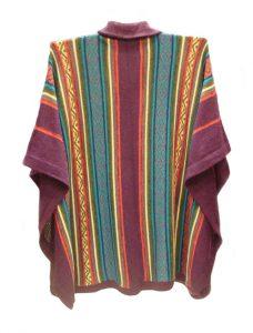 Cape Sanita dark pink.-multicolor in alpaca with kent collar en button fastening.